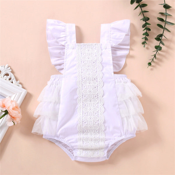 Baby Girls Lace Splicing Flutter Sleeve Lovely Romper baby wholesale
