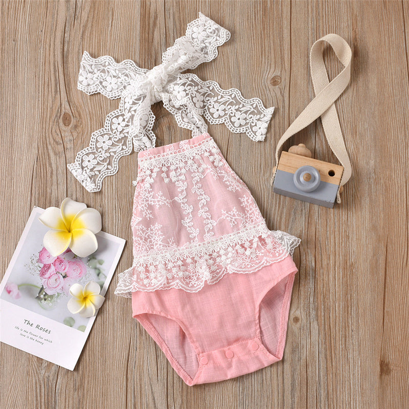 Baby Girls Lace Splicing Tie Up Romper Wholesale Clothing Baby