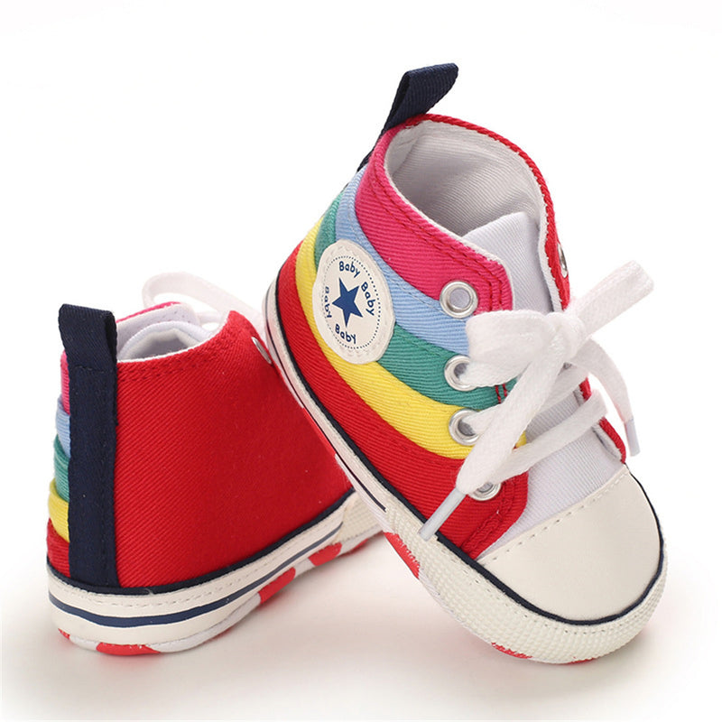 Baby Unisex Lace Up Canvas Cartoon Printed Casual Sneakers Kids Shoes Wholesale Suppliers