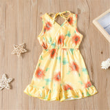 Girls Lace Up Floral Printed Sleeveless Jumpsuit Bulk Childrens Clothes