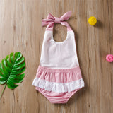 Baby Girls Lace Up Lace Splicing Romper Wholesale Baby Clothing Distributors