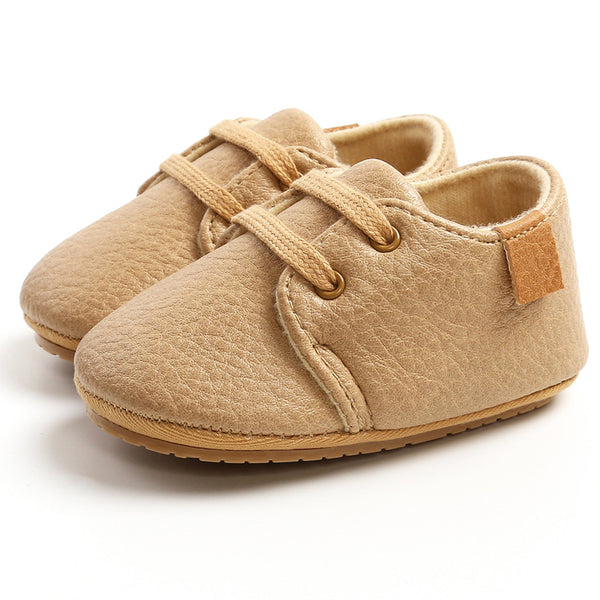 Baby Unisex Lace Up PU Non-Slip Flat Wholesale Infant Shoes