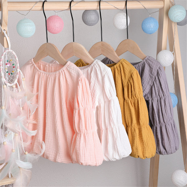 Girls Lantern Bubble Sleeve Cotton linen Tops Wholesale Girl Clothing