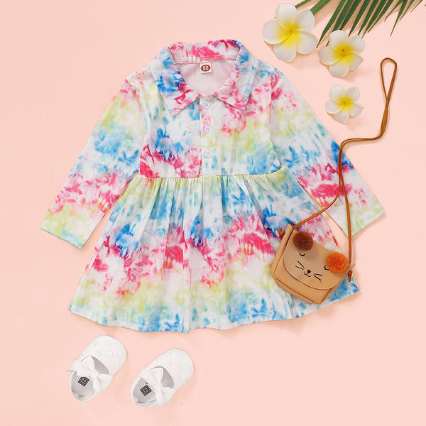 Baby Girls Lapel Button Tie Dye Long Sleeve Dress Cheap Baby Clothes In Bulk