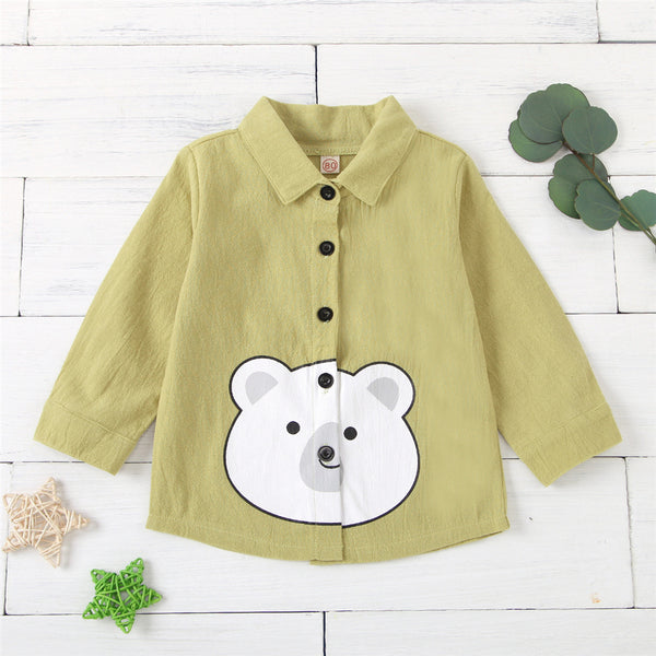 Unisex Lapel Cartoon Bear Printed Button Long Sleeve Top Toddler Clothing Wholesale