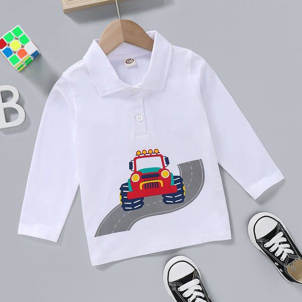 Boys Lapel Cartoon Car Printed Long Sleeve Top Wholesale Childrens Clothing