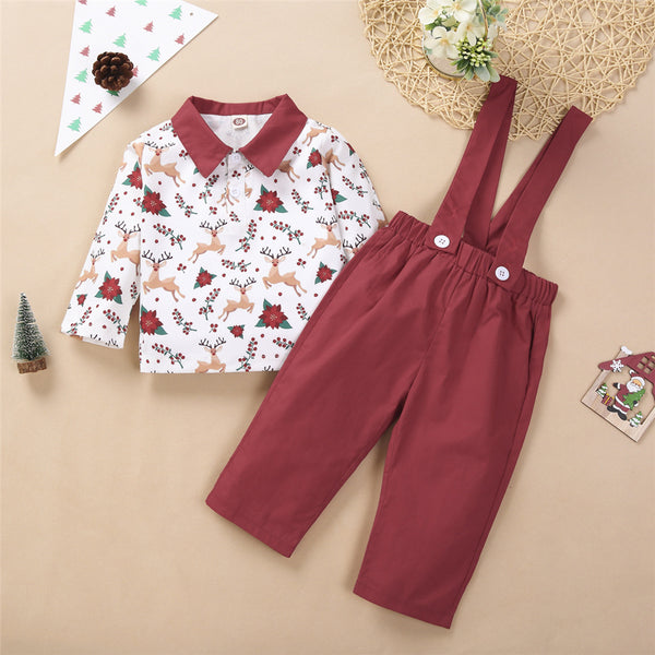 Toddler Boys Lapel Christmas Long Sleeve Top & Overalls Boys Casual Suits