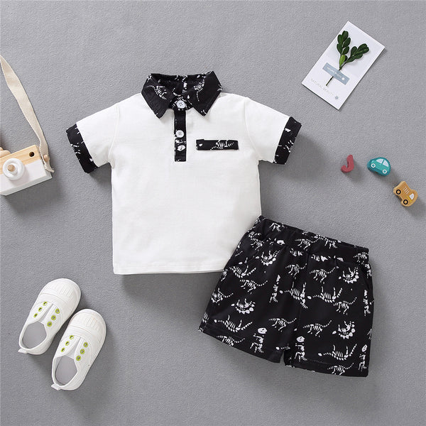 Boys Lapel Dinosaur Camo Printed Short Sleeve Top & Shorts wholesale baby clothes