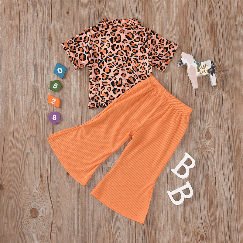 Girls Lapel Leopard Printed Button Top & Solid Bell Pants Wholesale Clothing For Children