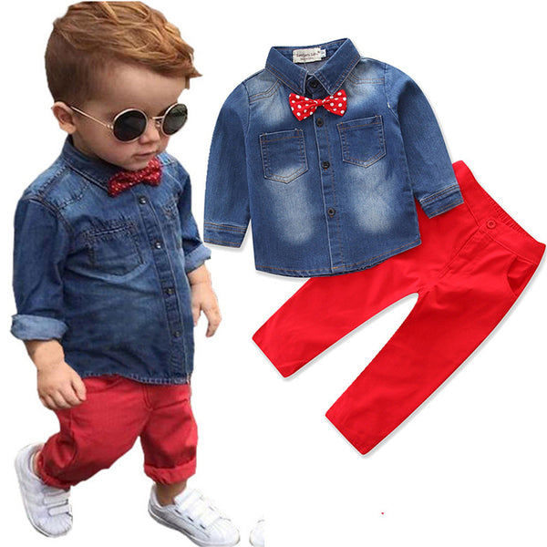 Toddler Boys Lapel Long Sleeve Denim Jacket & Pants Wholesale Boys Suits