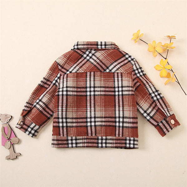 Unisex Lapel Long Sleeve Plaid Button Pocket Jacket Kids Wholesale Clothing