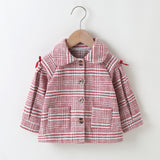 Baby Girls Lapel Plaid Button Long Sleeve Button Coats Baby Boutique Clothes Wholesale