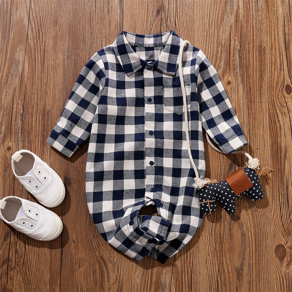 Baby Lapel Plaid Pocket Long Sleeve Rompers