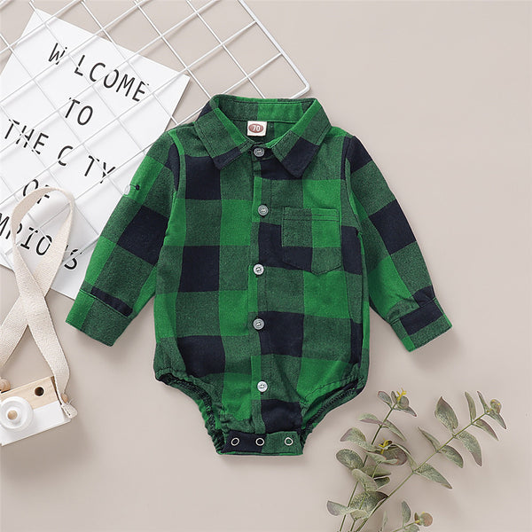 Baby Boys Lapel Pocket Plaid Long Sleeve Romper Wholesale Baby Cloths