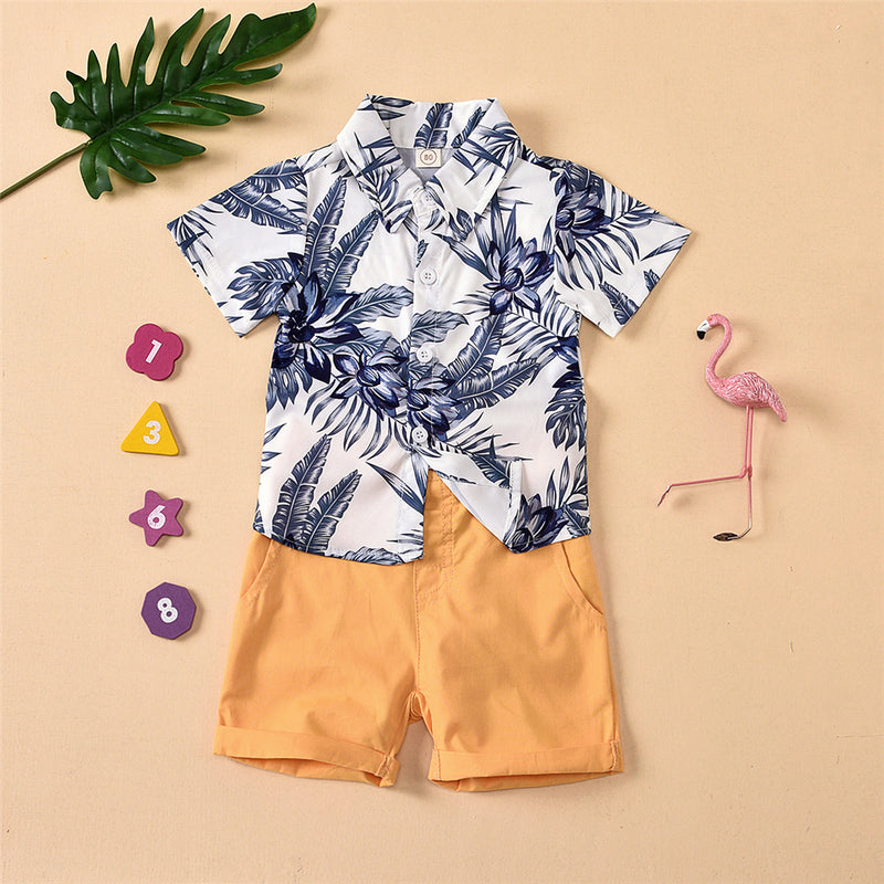 Boys Lapel Short Sleeve Cartoon Printed Top & Solid Shorts Little Boys Wholesale Clothing