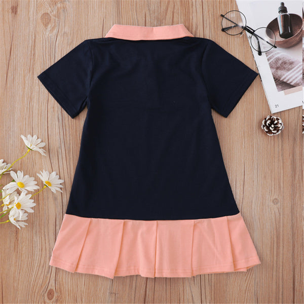 Baby Girls Lapel Short Sleeve Dress Wholesale Clothing Baby