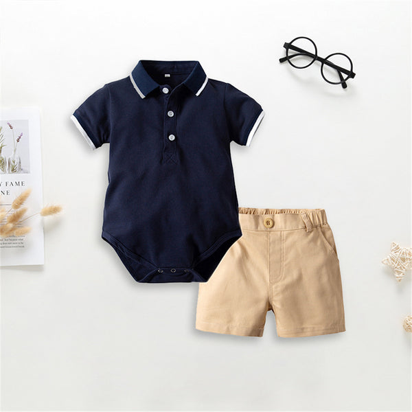 Baby Boys Lapel Short Sleeve Romper & Solid Shorts Baby Clothes Vendors