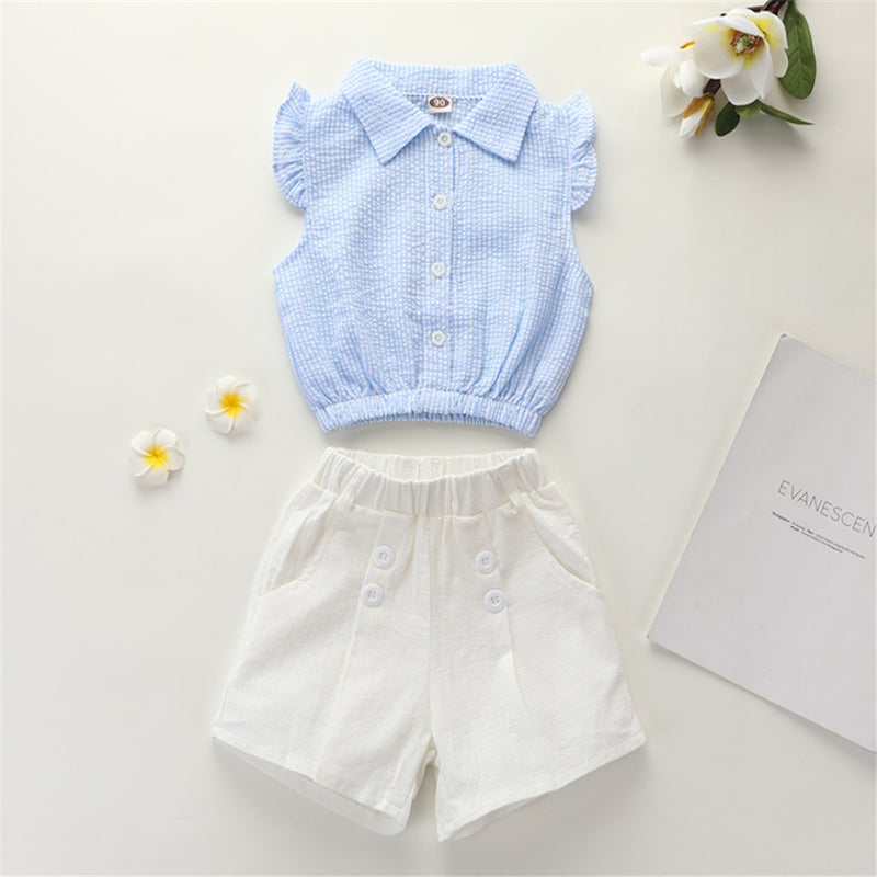 Girls Lapel Sleeveless Solid Color Button Top & Shorts Wholesale Girl Boutique Clothing