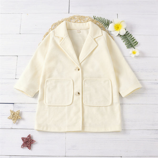 Girls Lapel Solid Color Pocket Long Sleeve Button Coat Wholesale Girl Clothing
