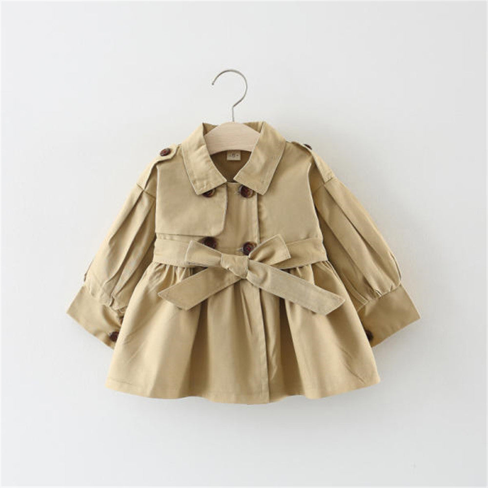 Girl Lapel Solid Long Sleeve Outerwear