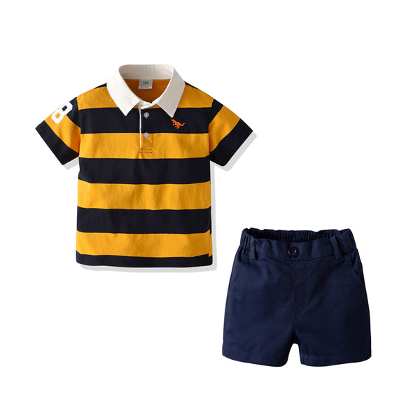 Boys Lapel Striped Short Sleeve Top & Solid Shorts Boy Summer Outfits