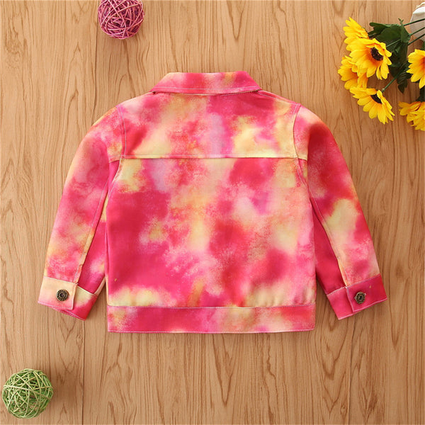 Girls Lapel Tie Dye Button Long Sleeve Jacket Girl Wholesale