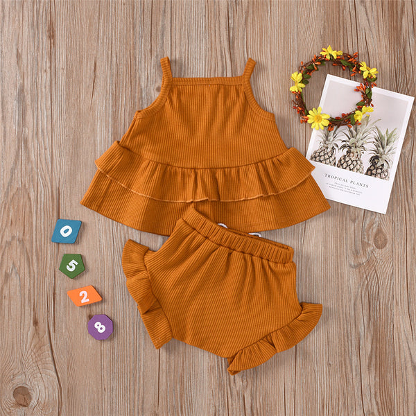 Girls Layered Solid Color Sling Top & Shorts Summer Casual Suits children's wholesale boutique clothing