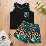 Boys Leaf Leopard Printed Sleeveless Top & Shorts Wholesale Toddler Boy Clothes