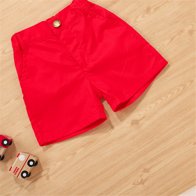 Boys Leaves Printed Lapel Short Sleeve Button Shirt & Red Shorts British School Boy