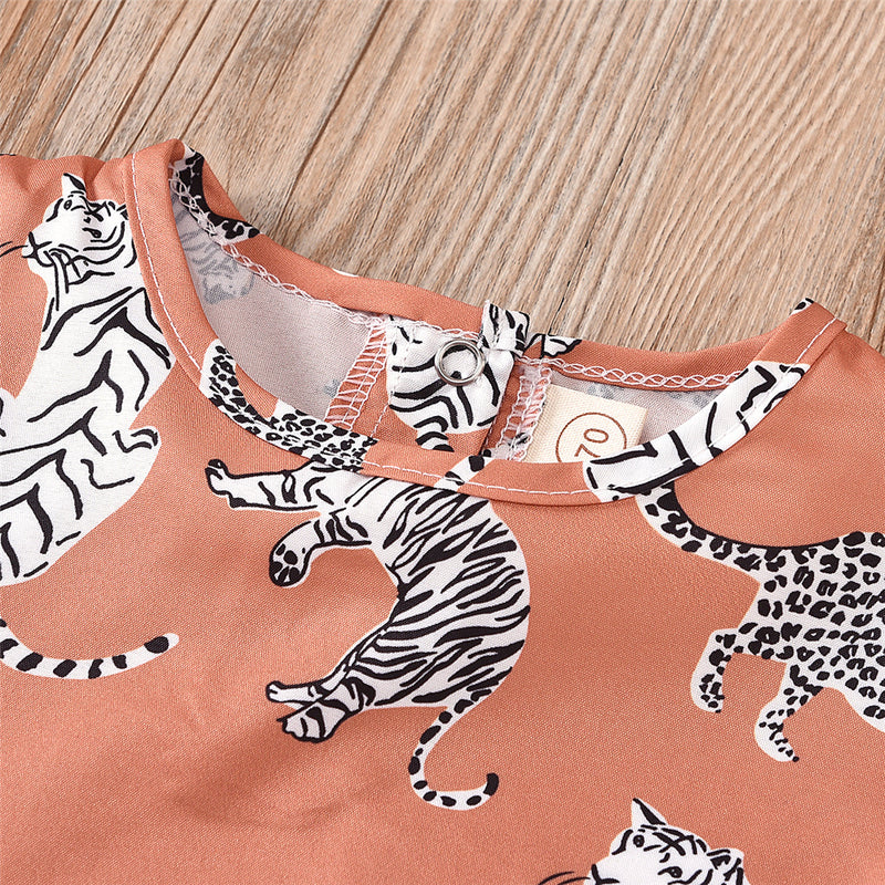 Baby Girls Animal Printed Sleeveless Top & Shorts Wholesale Baby Boutique Items