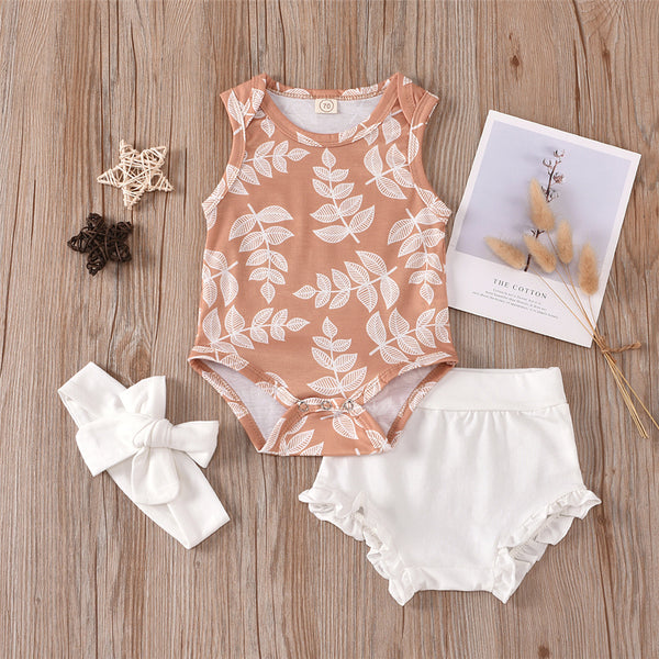 Baby Girls Leaves Printed Sleeveless Romper & Solid Shorts & Headband Wholesale Designer Baby Clothes
