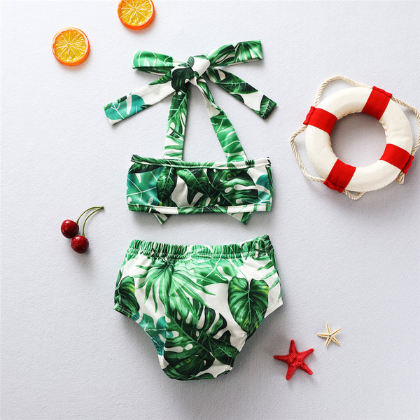 Baby Girls Leaves Printed Top & Shorts Swimwear With Shorts