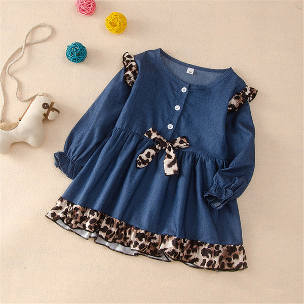 Girls Leopard Bow Long Sleeve Dress Toddler Girl Wholesale Clothing
