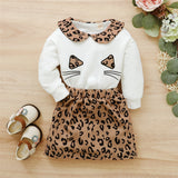 Girls Leopard Cat Crew Neck Long Sleeve Top & Skirt Buy Kids Clothing Wholesale