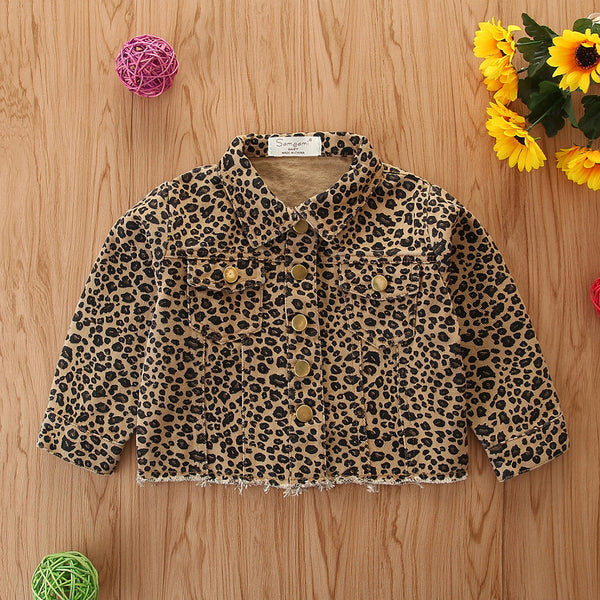 Girls Leopard Denim Lapel Long Sleeve Button Jacket Wholesale