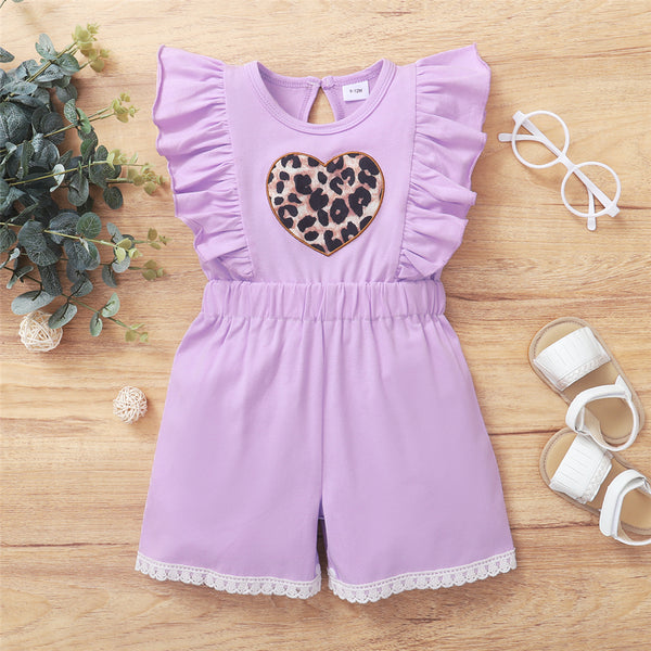 Baby Girls Leopard Heart Casual Romper wholesale baby clothes