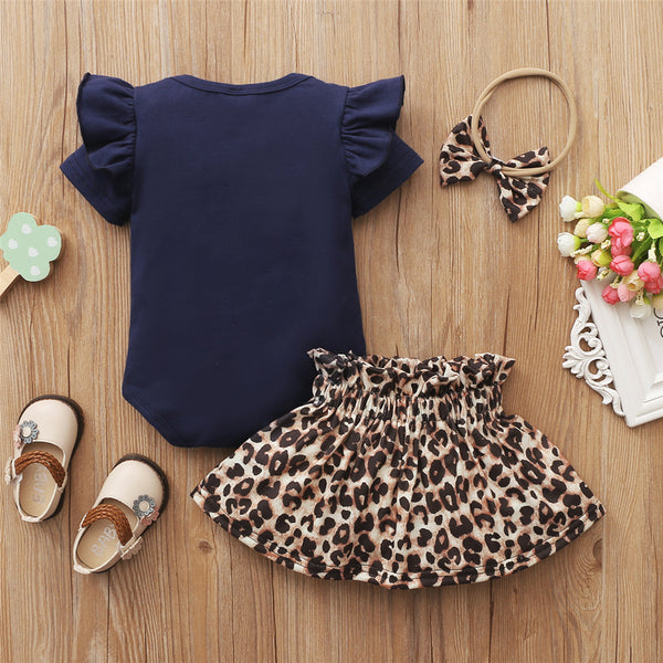 Baby Girls Leopard Heart Printed Short Sleeve Love Romper & Skirt & Headband baby clothes wholesale usa