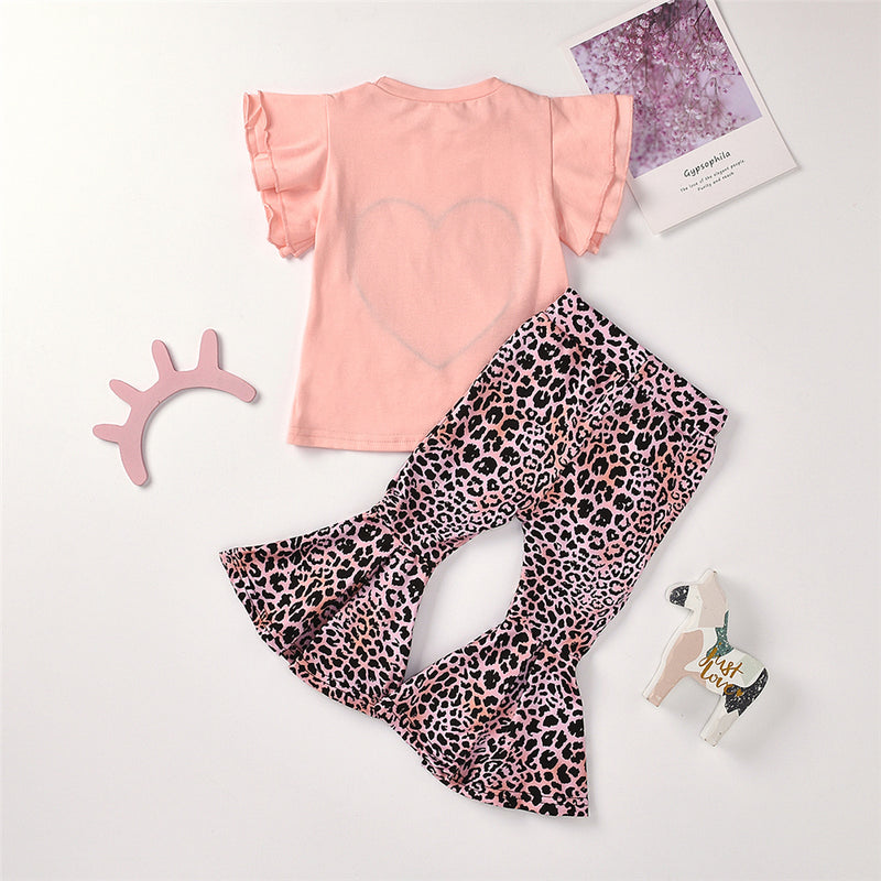 Girls Leopard Heart Printed Short Sleeve Top & Bell Trousers Girls Boutique Clothes Wholesale