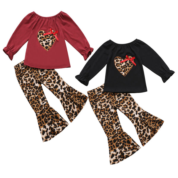 Girls Leopard Heart Solid Tops & Flares Pants Wholesale Daddys Girl Baby Outfit