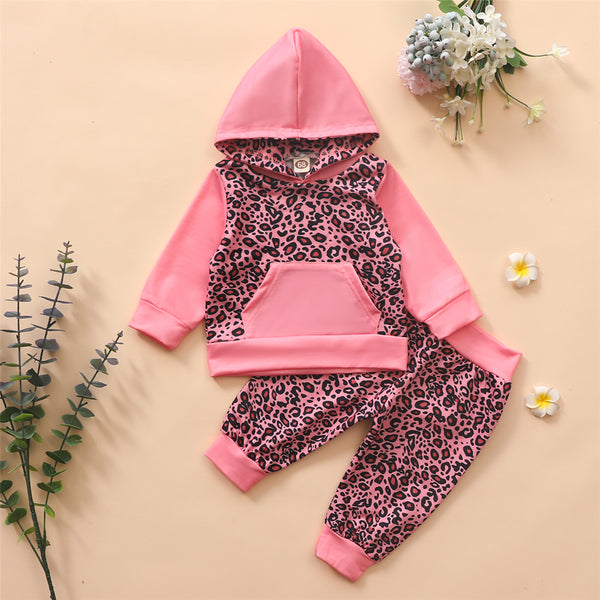 Baby Girls Leopard Hooded Long Sleeve Top & Pants Baby Clothing Cheap Wholesale