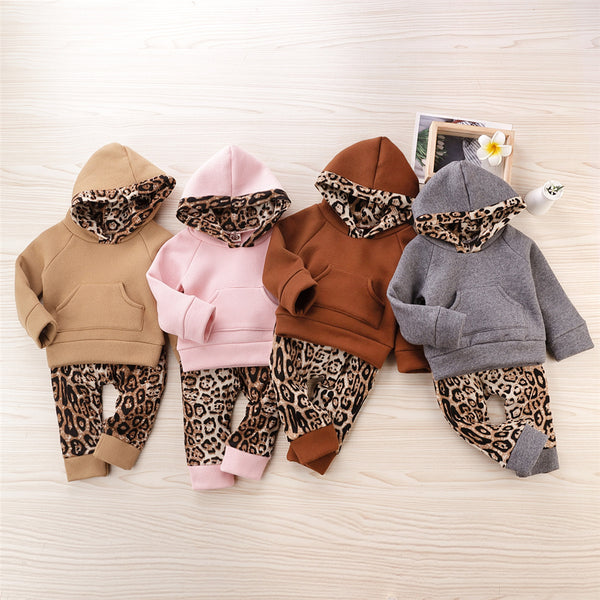 Baby Girls Leopard Hooded Long Sleeve Top & Pants Babywear Wholesale