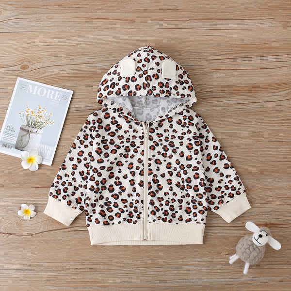 Baby Girls Leopard Hooded Zipper Long Sleeve Jacket Baby Clothes Vendors
