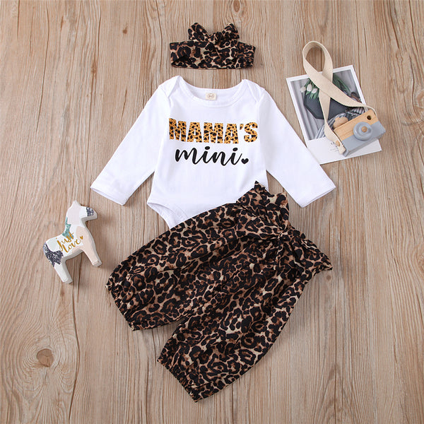 Baby Girls Leopard Letter Long Sleeve Romper & Pants Baby Outfits