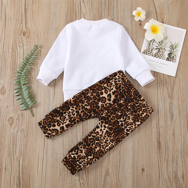 Baby Girls Leopard Letter Long Sleeve Top & Trousers Wholesale Baby Clothes