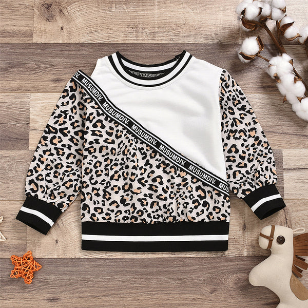 Toddler Girls Leopard Letter Off Shoulder T-shirt Girls Wholesale Clothes