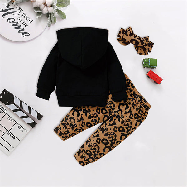 Girls Leopard Letter Print Hooded Top & Pants Toddler Girls Wholesale