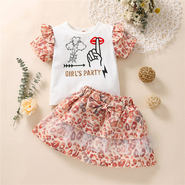 Girls Leopard Letter Printed Short Sleeve Top & Skirt wholesale kids clothing