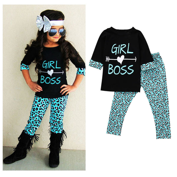 Girls Leopard Letter Printed T Shirts & Trousers Girls Wholesale Clothes