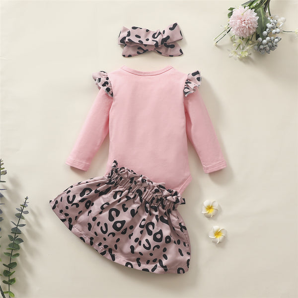 Baby Girls Leopard Letter Romper & Skirt & Headband Baby Wholesale Clothes