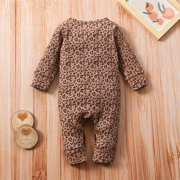 Baby Girl Leopard Long-Sleeve Romper Boutique Baby Clothes Wholesale
